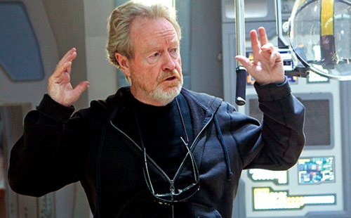 Ridley Scott on Prometheus set, courtesy of http://insidemovies.ew.com/2014/08/25/ridley-scott-the-martian-blade-runner-prometheus-sequels/